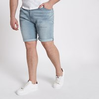 River Island Big And Tall Light Blue Ripped Denim Shorts