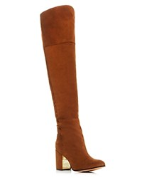 Rachel Zoe Twilight Lace Up Over The Knee High Heel Boots Sepia Gold