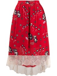 Zadig And Voltaire Joslin Daisy Print Skirt Red