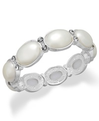 Charter Club Silver Tone Faux Pearl And Crystal Stretch Bracelet