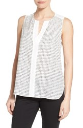 Women's Gibson Contrast Trim Print Sleeveless Top White Black