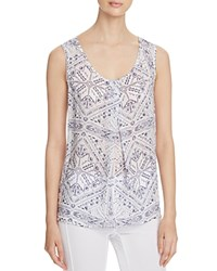 Side Stitch Tribal Print Tank White