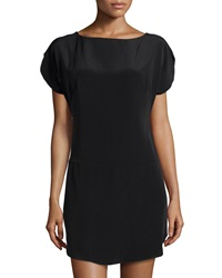 Milly Dolman Sleeve Silk Dress Black