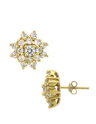Lord And Taylor 18Kt Gold Plated Sterling Silver And Cubic Zirconia Cluster Earrings