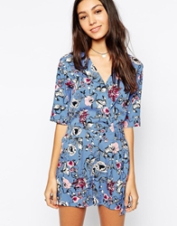 Influence Long Sleeve Wrap Front Romper In Floral Print Blue