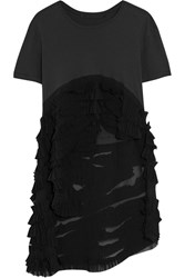 Haider Ackermann Ruffled Cotton Jersey And Silk Georgette T Shirt Dark Gray