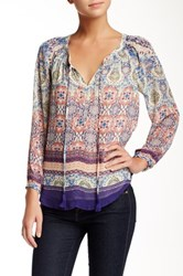 Daniel Rainn Long Sleeve Printed Peasant Blouse Petite Multi