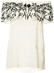 Nicole Miller Embroidered Off Shoulder Blouse White