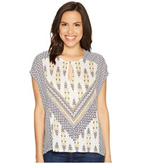 Lucky Brand Printed Mixed Blouse Natural Multi Women's Blouse