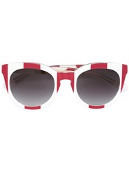 Dolce And Gabbana Striped Sunglasses Red