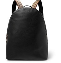 Paul Smith Stripe Trimmed Full Grain Leather Backpack Black
