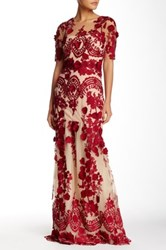 Marchesa Elbow Length Sleeve Full Length Lace Gown Red