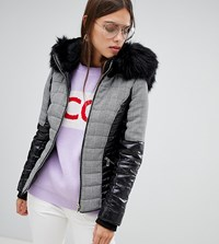 River Island Padded Jacket With Faux Fur Collar In Check Black