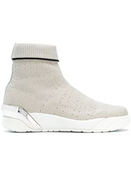 Crime London Moonrock Hi Top Sneakers Nude And Neutrals