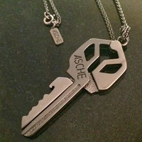 Asche Industries Gold Key Roach Cliprhodium Necklace