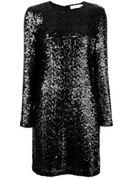 Tory Burch Sequined Fitted Dress Black
