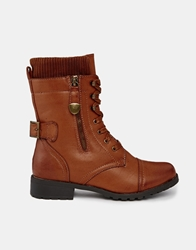 Truffle Collection Truffle Lace Up Cuff Boots Tan