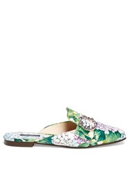 Dolce And Gabbana Jackie Ortensia Print Slides Purple Multi