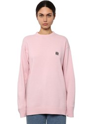 Loewe Anagram Embroidered Logo Knit Sweater Pink