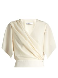 Lanvin Wrap Over Silk Top Ivory