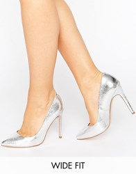 Asos Playful Wide Fit Pointed Heels Silver