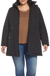 Gallery Plus Size Quilted Hooded Jacket Black