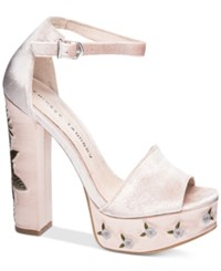 Chinese Laundry Ariana Embroidered Platform Sandals Women's Shoes Nude