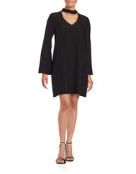 Design Lab Lord And Taylor Bell Sleeve Crepe Cutout Shift Dress Black