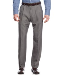 Haggar Classic Fit Microfiber Performance Pleated Dress Pants Heather Grey