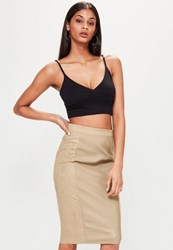 Missguided Tan Faux Leather Suede Panelled Midi Skirt