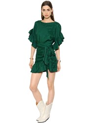 Etoile Isabel Marant Ruffled Wrap Over Linen Belted Dress