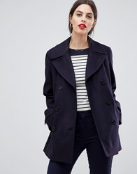 French Connection Platform Wool Cashmere Blend Double Breasted Coat Utility Blue Navy