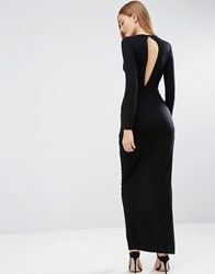 Asos Long Sleeve Drape Open Back Maxi Dress Black