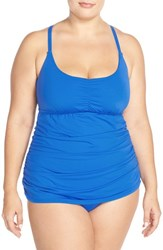 Plus Size Women's Becca Etc. 'Janis' Macrame Back One Piece Swimsuit Electric Blue