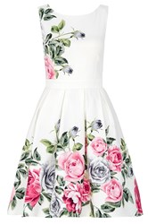 Quiz Cream Floral Print Prom Dress Cream