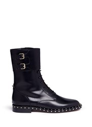 Valentino 'Rockstud' Trim Leather Combat Boots Black