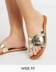 New Look Wide Fit Leather Twist Strap Mules In Gold
