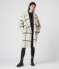 Allsaints Ryder Check Coat Black Ecru White