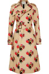 Adam By Adam Lippes Floral Print Cotton Twill Trench Coat Beige
