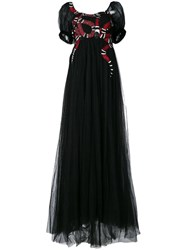 Gucci Snake Embroidered Tulle Gown Black