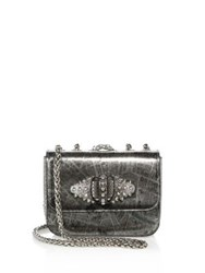 Christian Louboutin Sweet Charity Paris Metallic Crossbody Bag Silver
