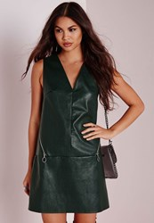 Missguided Faux Leather Circle Zip Detail Shift Dress