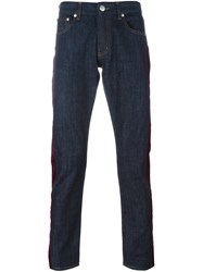 Alexander Mcqueen Stripe Applique Jeans Blue
