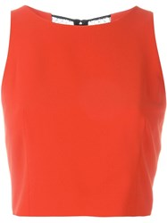 Alice Olivia Alice Olivia Crewneck Fitted Cropped Top Red