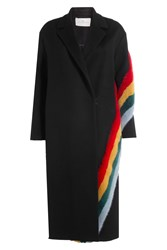 Anya Hindmarch Spectrum Stripes Virgin Wool Coat With Mink Fur Black
