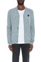 Comme Des Garcons Play Lambswool Cardigan With Black Emblem In Gray