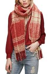 Free People Women's Loveland Plaid Fringe Scarf Red