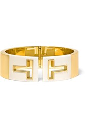 Tiffany And Co. T Cutout 18 Karat Gold And Ceramic Cuff