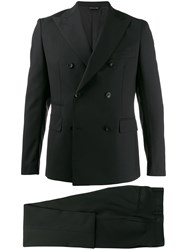 Tonello Fitted Double Breasted Suit Black