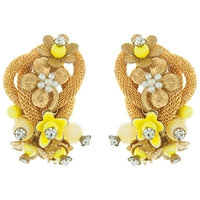 Eclectica Vintage 1960S Flower Knot Earrings Yellow